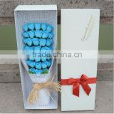 51pcs Blue Roses shape soap flower bouquet the surprise gift in valentine's day