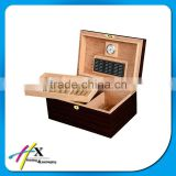 wood texture wooden cigar box with humidifier and hygrometer