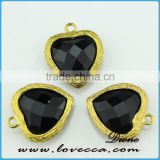 Hot Selling Unique Glass Black stone jewelry pendant Wholesale heart shape Glass Stone opal pendant