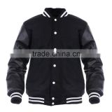 2015 Wholesale High Quality Men's Leather Sleeve Bomber Jacket, Wool Varsity Jacket with leather sleeve