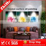 wholesale dropshipping light up led canvas painting handmade fabric flowers oil painting flower for home decor