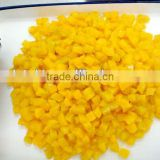 canned yellow peaches dice shape