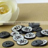 black 2 holes Japanese akoya shell button with flower laser engraved on for lady's clothing