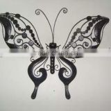 Wrought Iron Wall Sculpture Stained Glass Hanging nail Art outdoor patio ornament black metal large Butterfly Decoration
