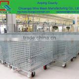 Folded steel storage wire mesh pallet cage,metal wire basket carts with 4 wheels,metal wire basket