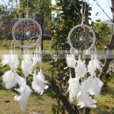 Promotional Christmas gift ornament Home Room Interior decor Handmade Traditional white feather dreamcatcher