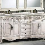 Retro Classic Bathroom Furniture Vanity With Double Sink, Vintage Sanitary Ware Carved Wooden Bathroom Cabinet With Marble Top