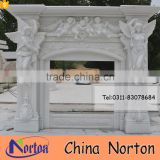 Carved angel and bady statue white marble fireplace NTMF-F828A