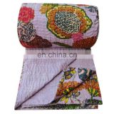 Handmade Indian Cotton Bedspread Ethnic Floral Print Designer Queen Bed Size Bedspreads, Kantha Thread Work Bedsheet