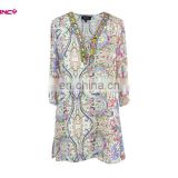 Elegant Women Tile Print Fashion Beaded Neck Tunic Design for Women over 50