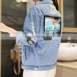 wholesale distressed denim jackets -FAUX LEATHER AND DENIM BIKER FASHION JACKET FOR WOMENS