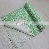Hand Quilted Pine Leaf Hand Block Printed Crib Size Quilt With Kantha Stitches baby wrap