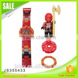 New arrival funny plastic building brick toy electronic watch with minifigures for wholesale