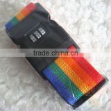 Luggage Belt Adjustable Traveling Suitcase Strap Passcode Lock Rainbow