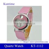 Quartz Cute Heart Shaped Dial PU leather band with plastic gift box for watch