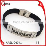 Daily wear wholesale fashion jewelry stainless steel engrave cross silicon bracelet