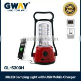 30LED Camping lantern with USB mobile charger transformer charging light-dimmer function