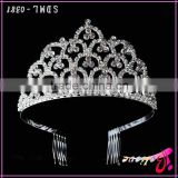 Luxurious crystal wholesale tiara crown,diamond bridal crown princess crown for girls