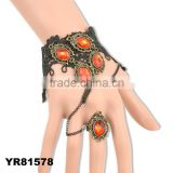 Ladies Lace Retro Vintage Crystal Beads Black Bracelet & Ring Set For Women