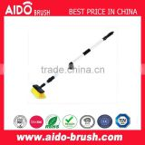 Telescopic long handle cleaning brush, water flow through brush, window glass cleaning brush