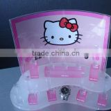 Acrylic Hello Kitty kids watch counter display rack Acrylic Watches Clocks Multi-Level Display C-Ring Stand