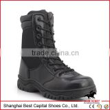 New high Black Genuine Leather Military Boots Rubber sole Cement Construction Half Ankle boots Duty and Military footwear