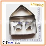 Wholesale stainless steel dog and cat in house Shaped cookie cutter set