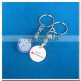 Plastic Euro coin shopping cart token keychain