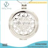 Crystal silver coin holder locket,silver stainless steel coin holder locket