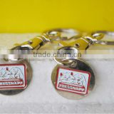 nickel plated iron soft enamel trolley coin keychain, keyholder with metal coin                                                                         Quality Choice