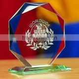 Hot selling rush glass plaque trophy crystal glass awards wholesalecrystal