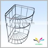 China supplier high quality hot selling fancy beautiful display rack durable modern decorative bathroom metal curved glass shelf