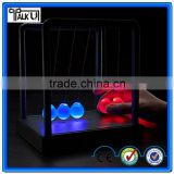 Hot sell plastic base kinetic Newton cradle balance balls, battery powered color changing Newton Pendulum balance ball