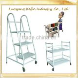 Professional library book cart mdf and metallic library bookshelf trolley for libraries & bookstores used library