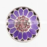18mm Round Enamel Metal With Rhinestone Flower Blossom Interchangeable Snap Charm For Snap Button Jewelry