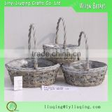 wicker plastic lined garden hanging plant basket