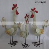 Handcraft metal chicken for outdoor christmas decoration