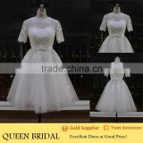 Real Sample High Neck Short Sleeve Appliqued Lace Patterns Tea Length Wedding Dress Patterns