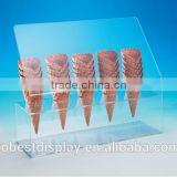 innovative clear acrylic ice cream cone holder,acrylic ice cream cone display case,ice cream cone display stand