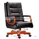 Luxury office furniture black leather soft upholstered boss chair (FOH-A70)