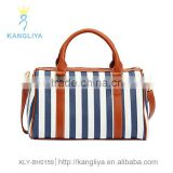 Tote pillow bag wih streak blue and white stripe nautical handbags ladies white special bags