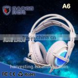 2015 Brand New Gaming Headphones game Headset Sades A6 Comfort Wearing Ultra-light USB 7.1 Surround Sound earphones for PC gamer                                                                         Quality Choice
