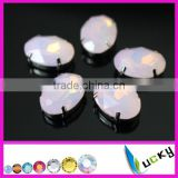Wholesale rhinestones pointed back pink opal color crystal beads for jewelry making supplies