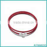 Wholesale Silver Bead Women Bracelet Of Leather, Genuine Handmade Braided Leather Wrap Bracelet