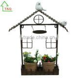 Vintage Rustic Chic Bird House Metal Planter