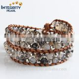 natural agate two rows turkey leather bracelet, weave bracelet with beads, handmade weave bracelet