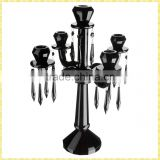 Handmade Exquisite Tall 5 Branch Crystal Black Candelabra Wholesale For Wedding Party Table Centerpiece Decoration