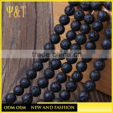 China factory flat black lava rock beads 6-10mm with hole for bracelets necklace (KB-003)