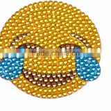 Top Quality Smiley Blue Glitter Acrylic Stone Sticker Custom Emoji Rhinestone Sticker Self Adhesive