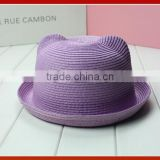 New Style Cat Ears Straw Lovely Hat/ Korea Fashion Cat Beer Ear Straw Sun Beach Hat/Cute Cat Ear Fashion Cap Straw Hat